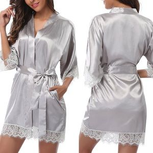 Gray silver lingerie robes + thong set